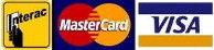 We accept Mastercard, VISA, and Interac Debit.